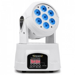 BeamZ MHL74 Mini Cabeza Movil Wash 7X 10W DMX 12 Canales Quad LED Blanco