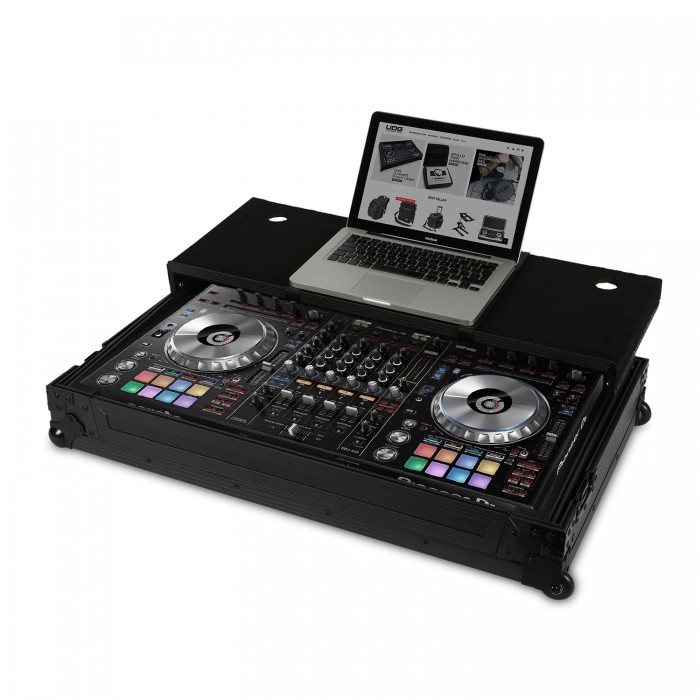 ultimate flight case pioneer ddj rz sz black plus laptop wheels