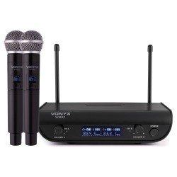Vonyx WM82 Microfono inalambrico digital UHF 2 canales con 2 micros de mano