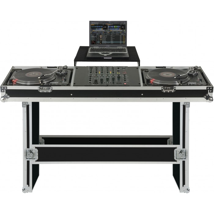turntable mixer console case w laptop tray