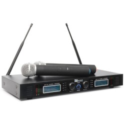 Power Dynamics PD732H 2x 16 Canales UHF Micro Inalambrico True Diversity con 2 Microfonos