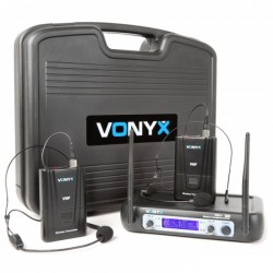 Vonyx WM512H VHF Sistema inalambrico de 2 canales con dos bodypacks y Display