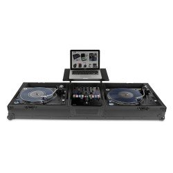 Udg Ultimate Flight Case Set PLX9/SL1200 Black + Laptop Shelf & Wheels