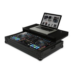 ultimate flight case pioneer ddj rr sr black plus laptop shelf